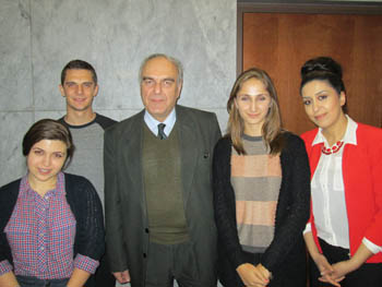 L. to R: Tatevik Hovhannisyan, Vachagan Vardanyan, Prof. Levon Chookaszian, Marine Vardanyan, and Ovsanna Simonyan at the February 12 lecture. Photo: Vartush Mesropyan.