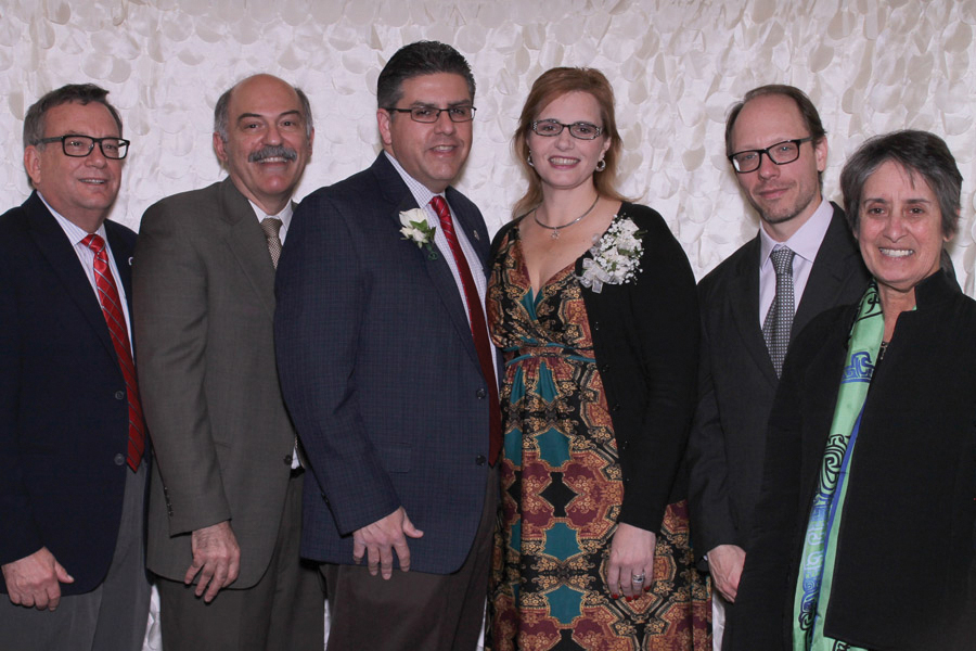 Left to Right: JCAST Dean Charles Boyer, Fresno State President Dr. Joseph Castro, First Lady Mrs. Mary Castro, Dr. Sergio La Porta, and Dean Vida Samiian of the College of Arts & Humanities. Photo: Thomas Ramirez-Best Shots Photo Booth.