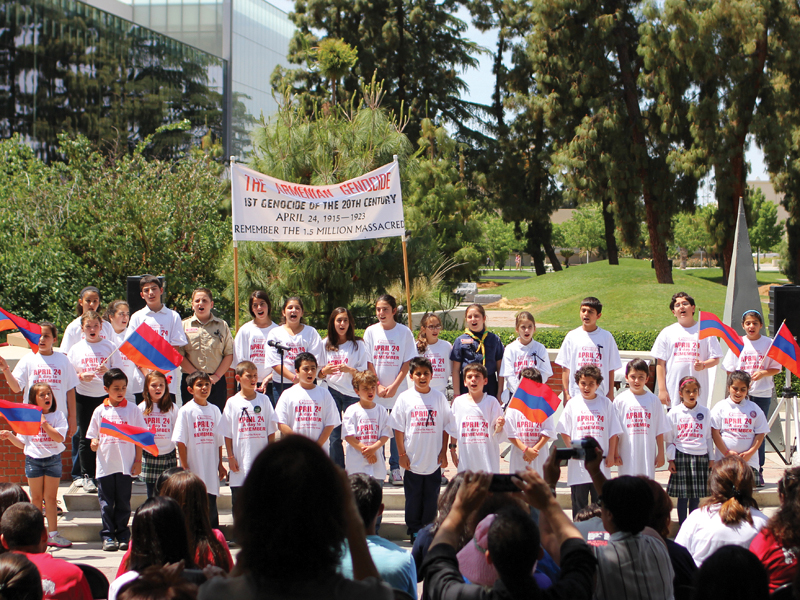 Children from the Charlie Keyan Armenian Community School performed two songs at the Commemoration. Photo: James Ramirez.