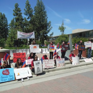"The ""Silent Protest"" at noon on April 24 at Fresno State. Photo: Vartush Mesropyan."