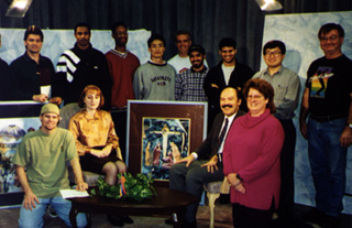 "The ""Hye Talk"" crew with host Barlow Der Mugrdechian and guest Sona Atoian."