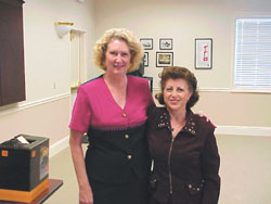Ms. Angelica Carpenter, Curator of the Arne Nixon Center, left, with Ms. Nazik Arisian.