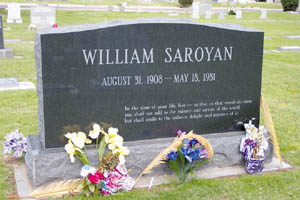 Famed author and Fresno native-son William Saroyan died in 1981. Half of his cremated remains are interred in the Pantheon National Cemetery in Yerevan, Armenia. At a private graveside ceremony in March of this year, the other half of Saroyan's remains were buried in Fresno's Ararat Cemetery.