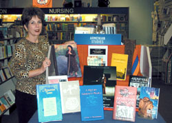 General Book Manager Janet Van Wyhe with display of new Armenian Books.