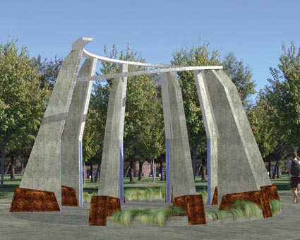 A rendering of the planned Armenian Genocide Monument at Fresno State.