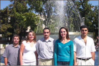 L to R: Alex Bunch, Treasurer; Kristina Pogosyan, Secretary; Hakop Tataryan, President; Zhanna Bagdasarov, Vice-President; and Gevork Aristakesyan, Public Relations.