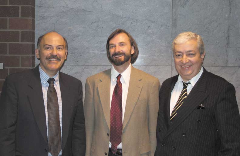 Left to right: Barlow Der Mugrdechian, Dr. Peter Cowe of UCLA, and Avik Issahakian, gradson of noted writer Avedik Issahakian.