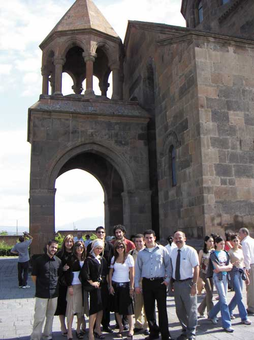 Armenian Summer Study 2005 group at St. Hripsime Church.
