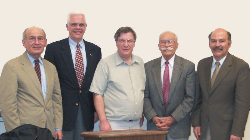 """William Saroyan and His World"" participants, left to right: Dr. Dickran Kouymjian, John Kallenberg, William Secrest, Berge Bulbulian, and Barlow Der Mugrdechian"