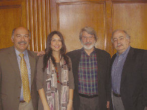 ASP Coordinator Barlow Der Mugrdechian (left) with Dr. Talar Chahinian, Dr. Kevork Bardakjian, and Dr. Khachig Toloyan at the University of Michigan, Ann Arobor