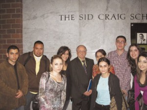 Dr. Bournoutian and some of his students at lecture