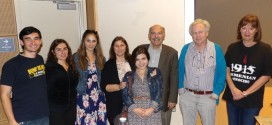 Left to Right: Andrew Esguerra, Seroun Mouradian, Marine Vardanyan, Suzanne Khardalian, Tatevik Hovhannisyan, Prof. Barlow Der Mugrdechian, PeÅ Holmquist, and CineCulture Professor Mary Husain at the Oct. 24 screening.