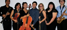 Aaron M Luna (clarinet), Lianna Stuart (violin), Aimee Dockum (cello), Joseph Bohigian (percussion), Cassandra Barnes (flute), Rebecca Messer (piano), and Josh Locher (saxophone). Pianists Nathaniel Musso and Daniel Ruiz are not pictured.