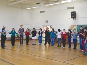 Students learning to Armenian dance at the workshop. Photo: Erica Magarian
