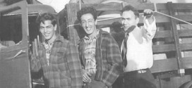 The oldest of the Antaramian brothers from Kenosha, Wisconsin,Paul (left) and Massey (center), and an unidentified friend (right), on the road to New York in 1947, to join other American-Armenian repatriates on their journey to Armenia.  Photo: Hazel Antaramian-Hofman