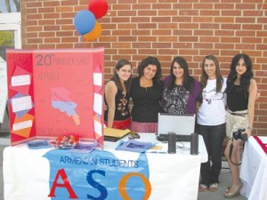 Left to right: Ani Grigoryan, Emma Shaljyan, Faten Kassabian, ASO President Vartush Mesropyan, and Lilit Grigoryan at the ASO table in the Free Speech area. Students distributed information about Armenia. Photo: Barlow Der Mugrdechian