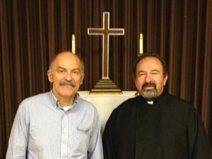 Prof. Barlow Der Mugrdechian, left, with Rev. Fr. Archpriest Yeghia Hairabedian, pastor, St. Gregory Armenian Church. Photo: Ken Melkonian