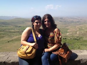 Evelyn Demirchian, left, with Kristin Livanis, on the way to the historic sites of Garni and Geghard in Armenia. Photo: ASP Archive