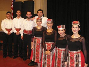 Left to right: ASO dancers Benjamin Tanielian, Hagop Ohanessian, Michael Rettig, Aramais Orkusyan, Ruzan Orkusyan, Marine Vardanyan, Tatevik Hovhannisyan, and Noel Lenard. Not pictured Ani and Lilit Grigoryan. Photo: ASP Archive