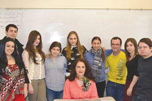 Dr. Sona Haroutyunian, center, with students. Photo: Barlow Der Mugrdechian