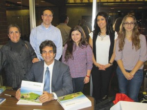 Left to right: Michelle Tutelian, Joel Mazmanian, Mattew Karanian, Tatevik Hovhannisyan, Ovsanna Simonyan, and Marine Vardanyan at the book signing following the February 17 event at the University Business Center.