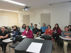 "Dr. Myrna Douzjian, fourth from right, with students of the Wednesday afternoon ""Armenian Genocide in Film"" class."