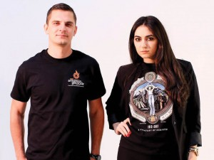 ASO t-shirts for the anniversary of the Armenian Genocide, modeled by Vachagan Vardanyan and Esther Oganyan.