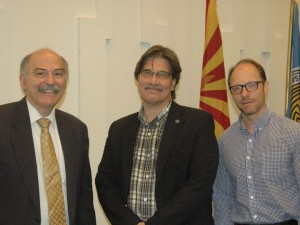 "Left to right: Prof. Barloe Der Mugrdechian, ""Genocide Awareness Week"" coordinator Prof. John Liffiton, and Dr Sergo La Porta at Scottsdale Community College."
