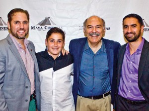 Left to right: Director Christopher Chambers, John Roohinian (Aram), Prof. Barlow Der Mugrdechian, and Sevak Hakoyan (Hakob) at the Red Carpet premiere at Maya Cinemas. Photo: Michael Quintero