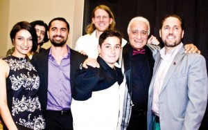 "Some of the cast and crew of ""Aram, Aram."" Left to right: Lorita Megerdichyan, Mike Ghader, Sevak Hakoyan, Nick Cimiluca, John Roohinian, Levon Sharafyan, Director Christopher Chambers. Photo: Michael Quintero"