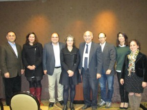 "Left to right: Dr. Hratch Tchilingirian, Dr. Sossie Kasbarian, Dr. Bedross Der Matossian, Dr. Lerna Ekmekcioglu, Prof. Barlow Der Mugrdechian, Dr. Sergio La Porta, Dr. Talar Chahinian, and Dr. Ramela Abbamontian participating in the SAS sponsored ""Impact of the Armenian Genocide"" Conference. Photo: ASP Archive"