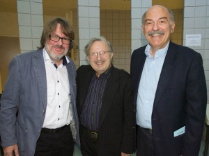 Left to Right.: Lorenz Keyboard Concert Series director Andreas Werz, Şahan Arzruni, and Prof. Barlow Der Mugrdechian. Photo: Hourig Attarian