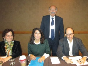 Left to right: Dr. Ramela Abbamontian, Dr. Talar Chahinian, Prof. Barlow Der Mugrdechian, and Dr. Sergio La Porta. Photo: ASP Archive