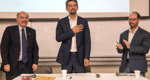 Garo Paylan, center, with Prof. Barlow Der Mugrdechian, left, and Dr. Sergio La Porta, right. Photo: Hourig Attarian