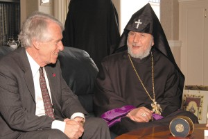Left to right: Former Fresno State President Dr. John Welty with His Holiness Karekin II, Catholicos of All Armenians. His Holiness received the President's Medal of Distinction on a June 2005 visit to Fresno State. Many distinguished guests have visited the Armenian Studies Program over the last forty years. Photo: Randy Vaughn-Dotta, ASP Archive