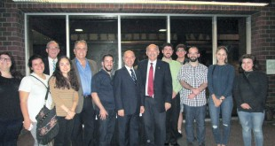 Dr. Paul Haidostian, center, with students and faculty after his presentation at Fresno State. Photo: Hourig Attarian