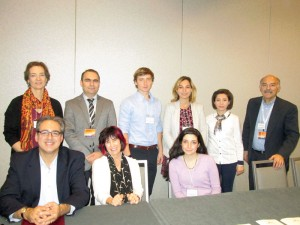 "Front row, left to right: Marc Mamigonian, Carel Bertram, and Helen Makhdoumian. Back row, left to right, Margaret Manoogian, Vahe Sahakyan, Anatolii Tokmancev, Shushan Karapetian, Sona Nersisyan, and Barlow Der Mugrdechian at the SAS sponsored conference ""Armenians in America."" Photo: ASP Archive"