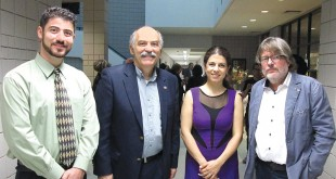Left to right: Prof. Hagop Ohanessian, Prof. Barlow Der Mugrdechian, Sofya Melikyan, and Keyboard Concerts Director Andreas Werz. Photo: Veronique Werz
