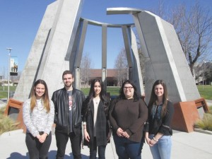 L. to R.: Executive members Claire Kasaian, Arthur Khatchatrian, Diana Gasparyan, Kara Statler, and Molly Gostanian at the Armenian Genocide Monument at Fresno State. Photo: Hagop Ohanessian