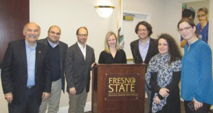 Left to right: Prof. Barlow Der Mugrdechian, Dr. Bedross Der Matossian, Dr. Sergio La Porta, Dr. Laura Robson, Dr. Devin Naar, Dr. Janet Klein, Dr. Stacy Fahrenthold. Photo: Michael Rettig
