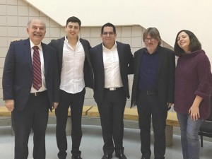 Left to right: Prof. Barlow Der Mugrdechian, cellist Narek Hakhnazaryan, pianist Julio Elizalde, Keyboard Concert Series director Andreas Werz, and Tiroui Melkonian after the January 29 concert. Photo: Veronique Werz