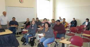 Prof. Barlow Der Mugrdechian, left, with students from the modern Armenian History course. Photo: Hagop Ohanessian