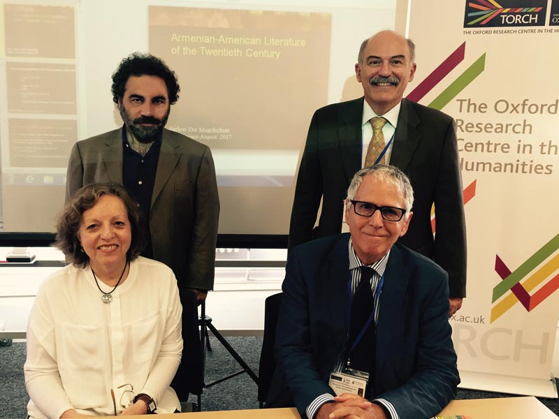 Left to right, front row: Dr. Nélida Boulgourdjian-Toufeksian and Dr. David Calonne. Standing, left to right: Dr. Hagop Gulludjian and Prof. Barlow Der Mugrdechian. Photo: ASP Archive