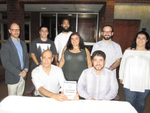 Standing, left to right: Dr. Sergio La Porta, David Safrazian, Cole Egoian, Marina Chardukian, Michael Rettig, and Kara Statler. Seated, left, Christopher Atamian and Prof. Hagop Ohanessian. Photo: Barlow Der Mugrdechian