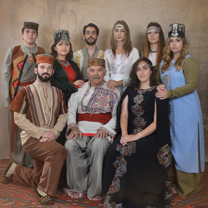 Back row, left to right: David Safrazian, Tatevik Hovhannisyan, Mitchell Peters, Marine Vardanyan, Claire Kasaian, and Shelbie Ohanesian. Front row, left to right: Michael Rettig, Prof. Barlow Der Mugrdechian, and Annie Rubio. The group dressed in traditional Armenian clothing from various regions of historic Armenia for this photo taken in Yerevan. Photo: Taraz Art Photostudio, Tashir Business Center, Yerevan
