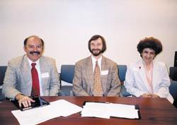 L to R: Barlow Der Mugrdechian, S. Peter Cowe, Gayane Hagopian at UC Santa Barbara conference.