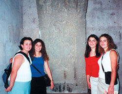 L. to R.: Tamara Karakashian, Tamara Enfiedjian, Sandra Enfiedjian, and Erica Ananian at the Sardarabad Museum