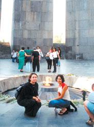 Tamara Karakashian left, with Carina Karakashian at the Armenian Martyrs Monument in Yerevan, Armenia.