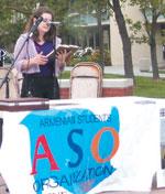 Student Armine Sargsyan reciting a poem by Barouyr Sevag.