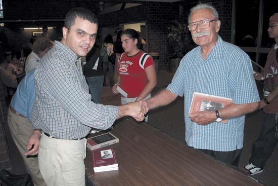 L to R. Ara Sarafian, Gomidas Inst., with Berge Bulbulian.